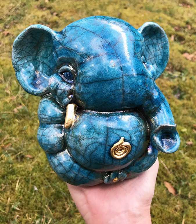 - Brigitte Saugstad Blue Raku Ganesha with golden tooth