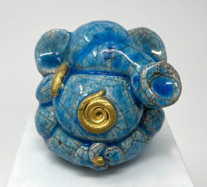 Brigitte Saugstad Ganesha Raku -3A ceramic statue, sculpture, idol, figurine, elephant