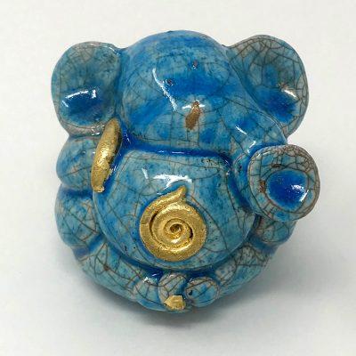 - Brigitte Saugstad Small Raku Ganesha in blue an gold