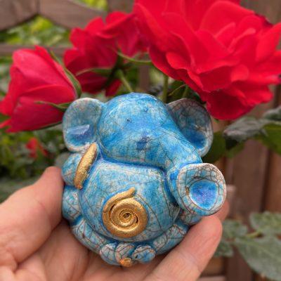 Brigitte Saugstad Ganesha Raku -3F ceramic statue, sculpture, idol, figurine, elephant