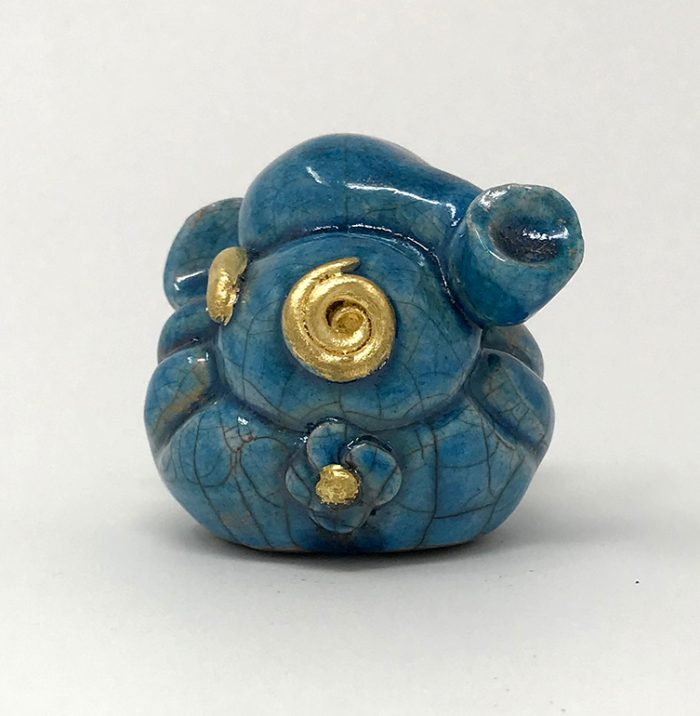 Brigitte Saugstad Sweet Raku Ganesha in blue and gold