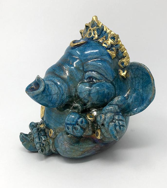 Brigitte Saugstad Ganesha Raku-7 12x13x11 E