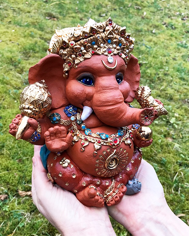 Brigitte Saugstad Lord Ganesha Sculpture with gold and crystal ornaments