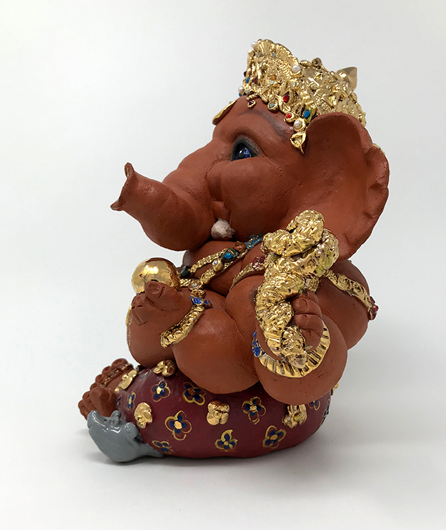 Brigitte Saugstad Royal Ganesha Sculpture with gold and crystal ornaments