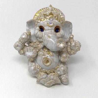 Brigitte Saugstad White Ganesha with Blue Eyes