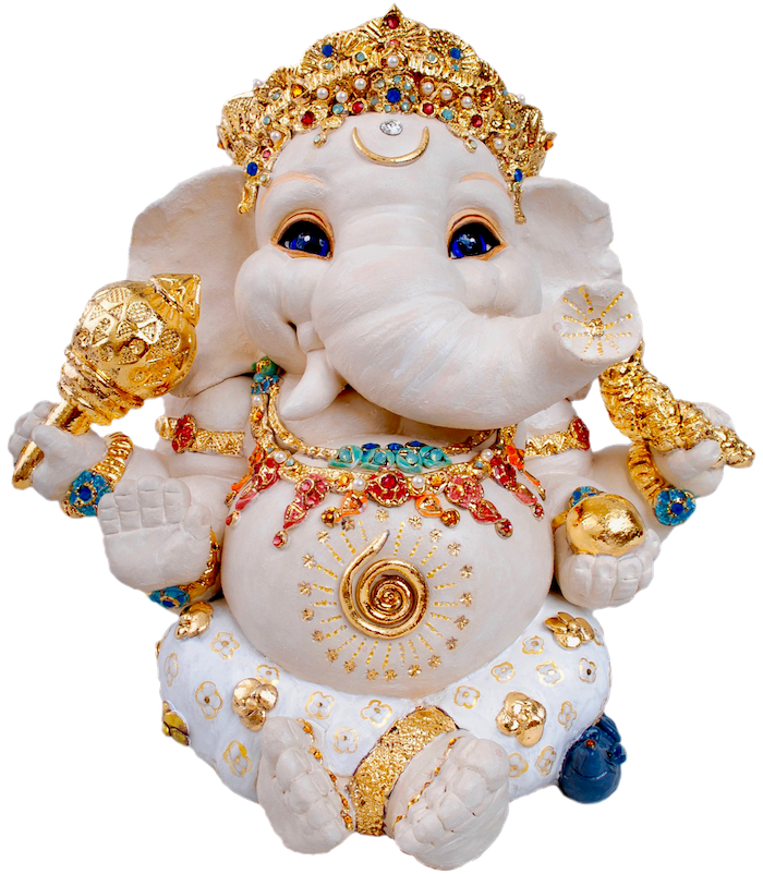 White Ganesha Statue with gold ornaments