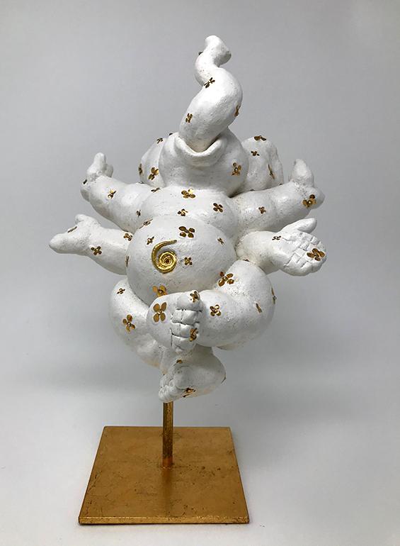 Brigitte Saugstad Ganesha sculpture - with gold daisies