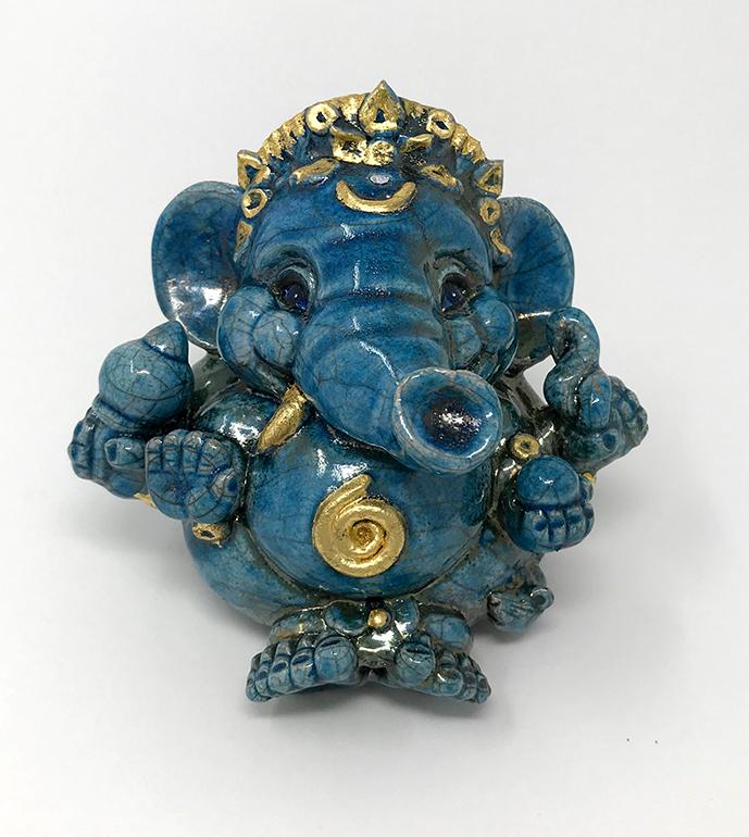 Brigitte Saugstad Ganesha Raku-6 10x12x9 A