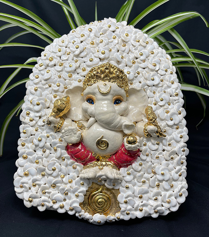 Brigitte Saugstad ViennaBloom-15 Ganesha (relief wall hanging) -A ceramic statue, sculpture, idol, figurine, elephant, art nouveau