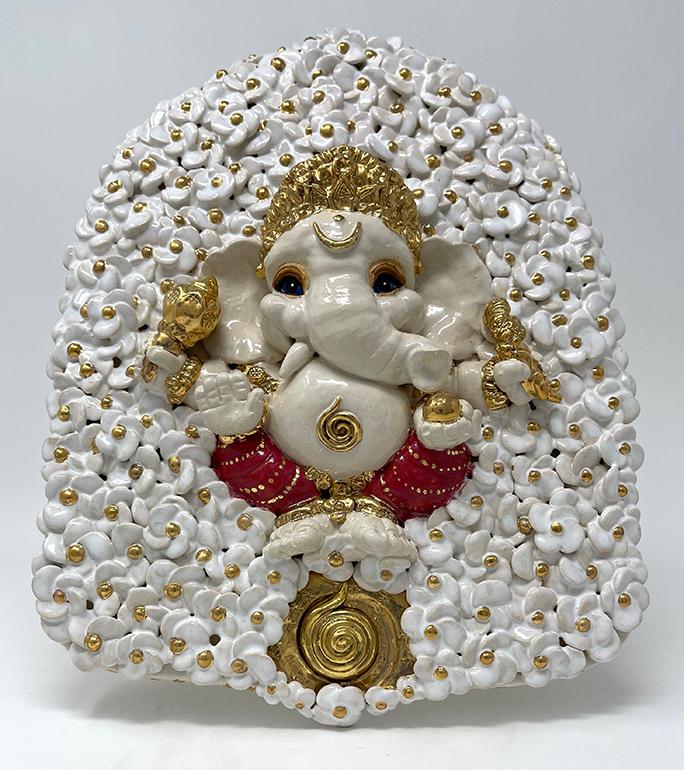 Brigitte Saugstad ViennaBloom-15 Ganesha (relief wall hanging) -B ceramic statue, sculpture, idol, figurine, elephant, art nouveau