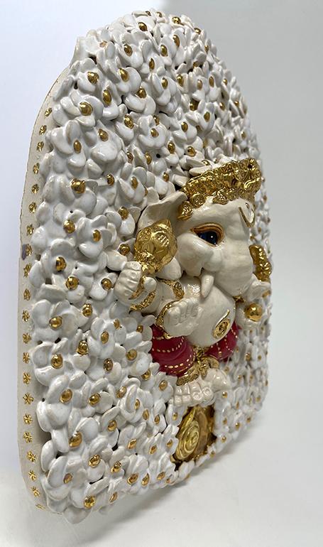 Brigitte Saugstad ViennaBloom-15 Ganesha (relief wall hanging) -C ceramic statue, sculpture, idol, figurine, elephant, art nouveau