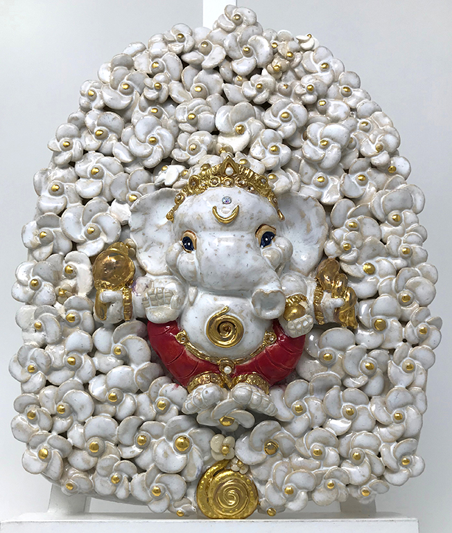 Brigitte Saugstad ViennaBloom-7 relief wall hanging Ganesha