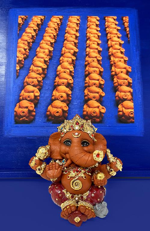 Brigitte Saugstad Ganesha Royal-20 ceramic statue, sculpture, idol, figurine, elephant A