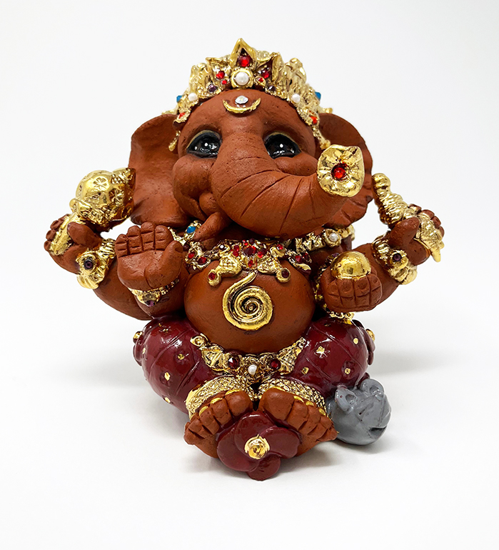 Brigitte Saugstad Ganesha Royal-20 ceramic statue, sculpture, idol, figurine, elephant B
