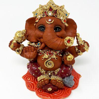 Brigitte Saugstad Ganesha Royal-20 ceramic statue, sculpture, idol, figurine, elephant G