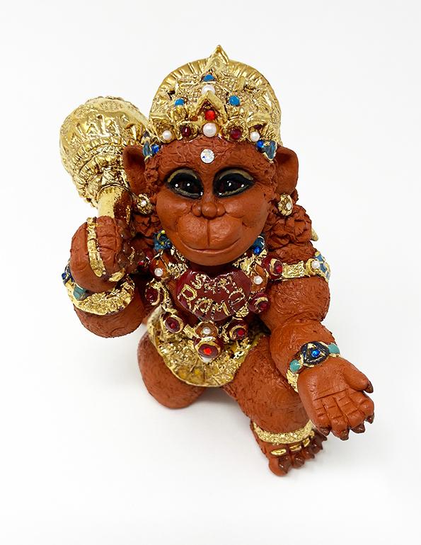 Brigitte Saugstad Hanuman Royal-12 ceramic statue, sculpture, idol, figurine, monkey B