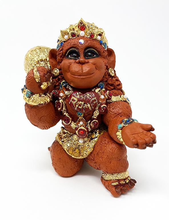 Brigitte Saugstad Hanuman Royal-12 ceramic statue, sculpture, idol, figurine, monkey C