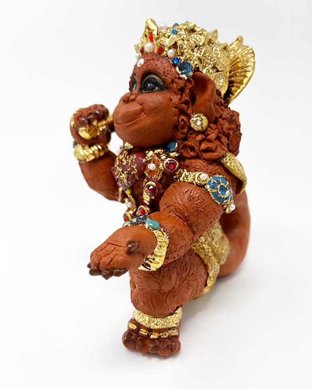 Brigitte Saugstad Hanuman Royal-12 ceramic statue, sculpture, idol, figurine, monkey F