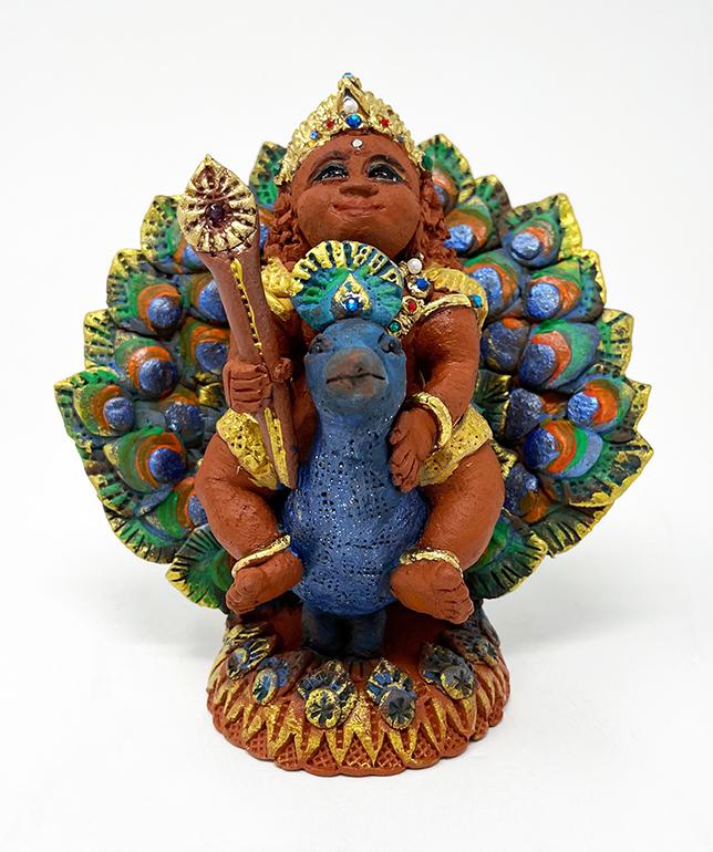 Brigitte Saugstad Kartikeya -1B ceramic statue, sculpture, idol, figurine