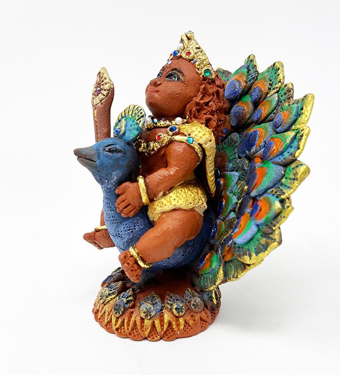 Brigitte Saugstad Kartikeya -1E ceramic statue, sculpture, idol, figurine
