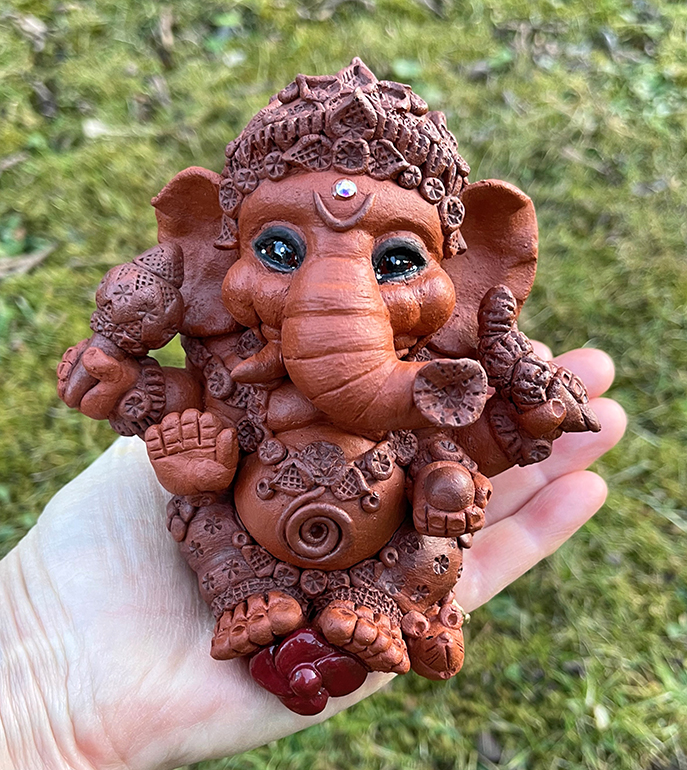 Brigitte Saugstad Ganesha Simple-6 statue, sculpture, figurine, elephant -A