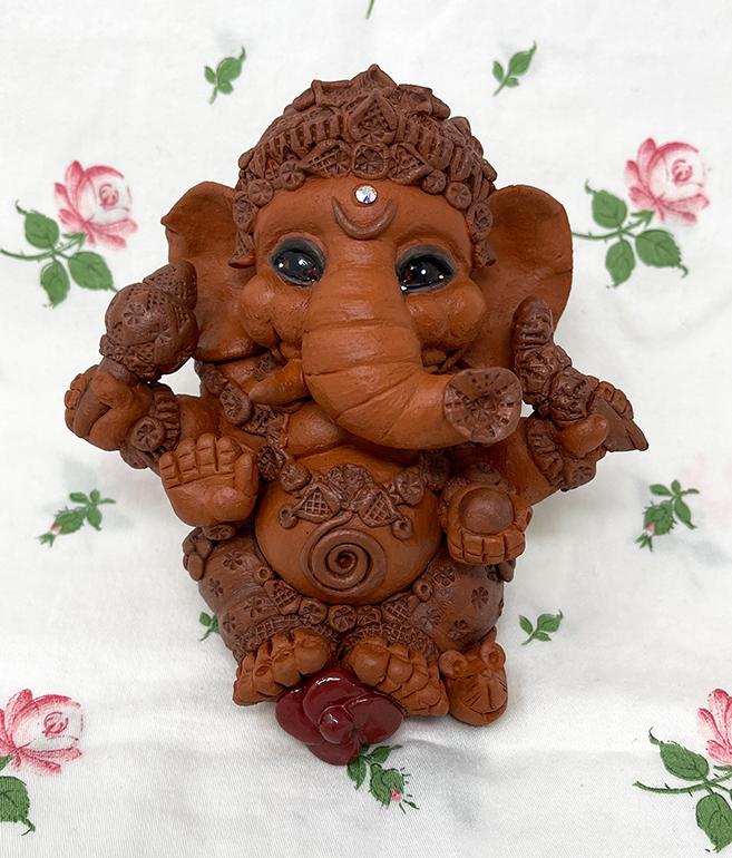 Brigitte Saugstad Ganesha Simple-6 statue, sculpture, figurine, elephant -B