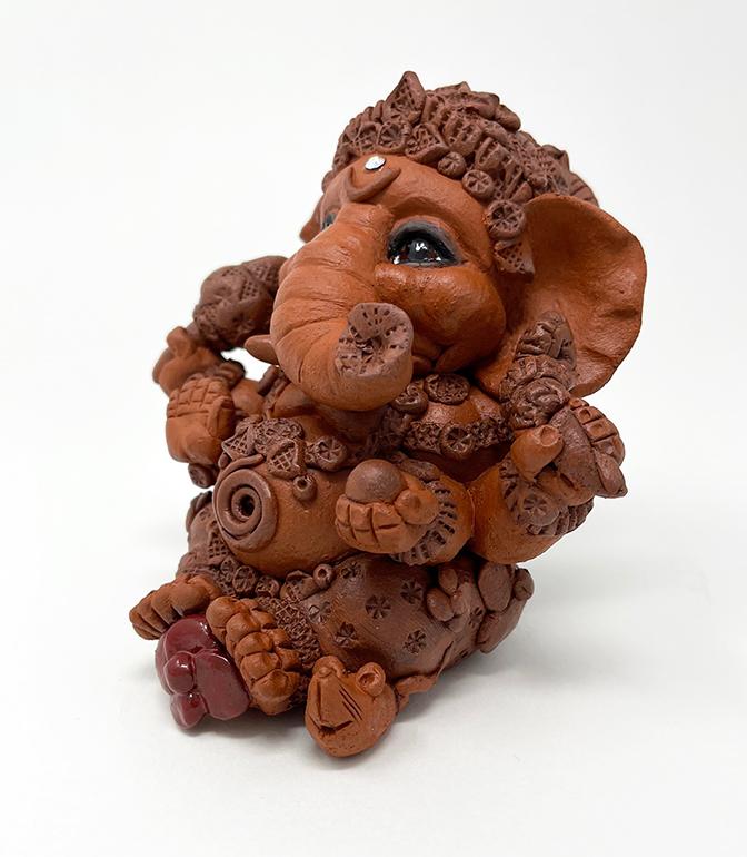 Brigitte Saugstad Ganesha Simple-6 statue, sculpture, figurine, elephant -F