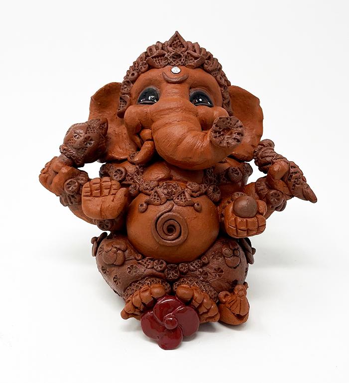 Brigitte Saugstad Ganesha Simple-7 ceramic statue, sculpture, idol, figurine, elephant C