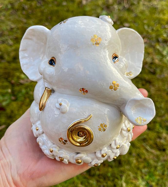 Brigitte Saugstad Ganesha Simple-Glazes-5 statue, sculpture, figurine, elephant -H