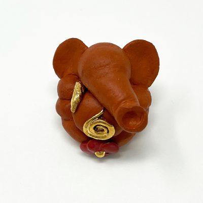 Brigitte Saugstad Ganesha Swayambu-01 natural brown 4x4x4 ceramic statue, sculpture, idol, figurine, elephant A