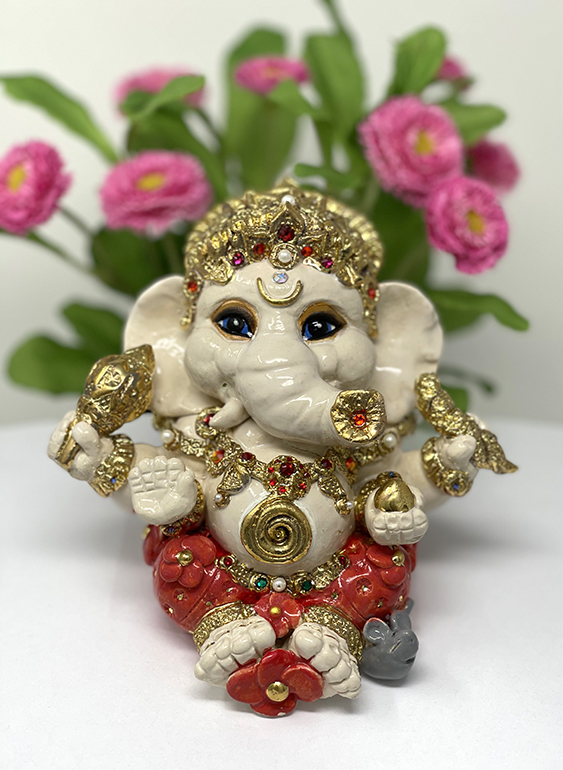 Brigitte Saugstad Ganesha Royal-17A ceramic statue, sculpture, idol, figurine, elephant