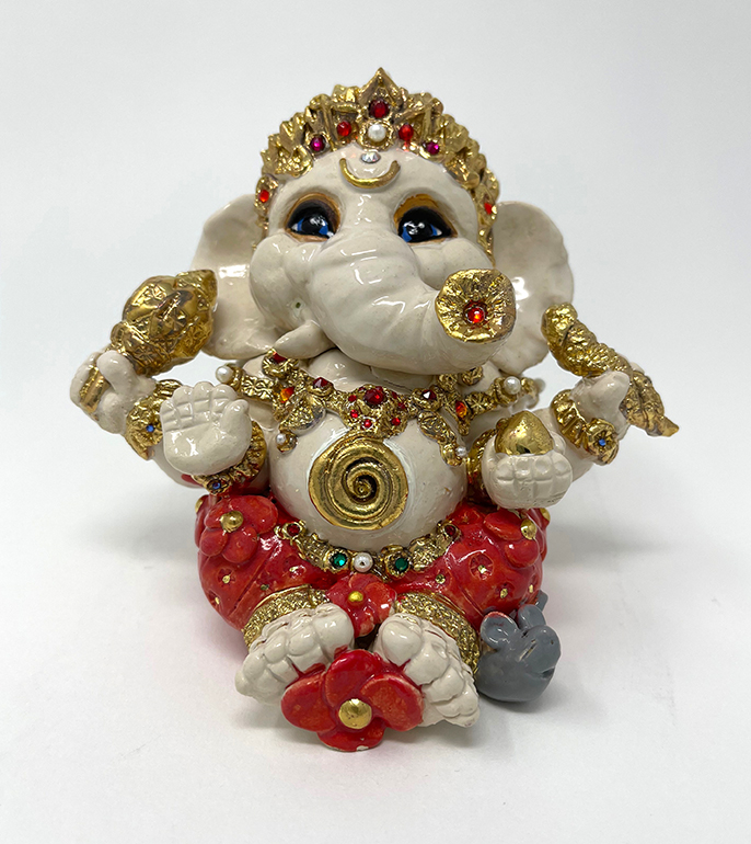 Brigitte Saugstad Ganesha Royal-17B ceramic statue, sculpture, idol, figurine, elephant