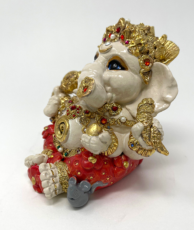 Brigitte Saugstad Ganesha Royal-17E ceramic statue, sculpture, idol, figurine, elephant
