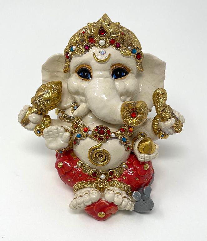 Brigitte Saugstad Ganesha Royal-19 ceramic statue, sculpture, idol, figurine, elephant C