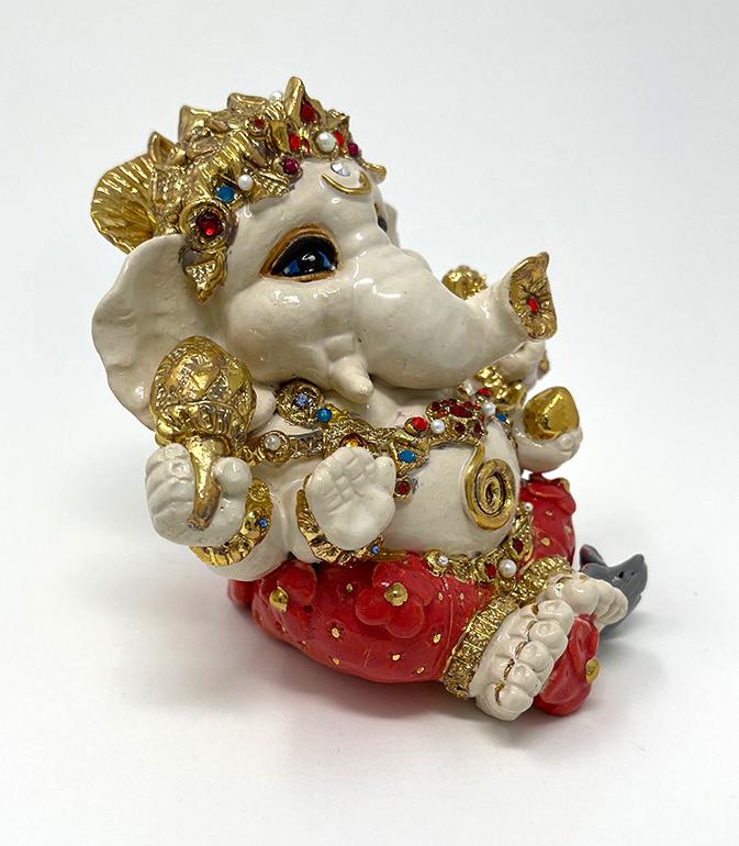 Brigitte Saugstad Ganesha Royal-19 ceramic statue, sculpture, idol, figurine, elephant E