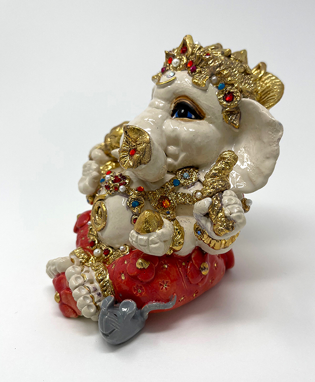Brigitte Saugstad Ganesha Royal-19 ceramic statue, sculpture, idol, figurine, elephant G