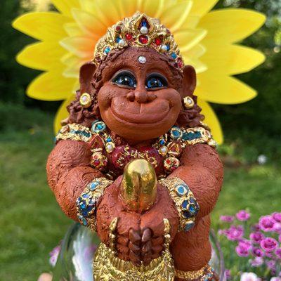 Brigitte Saugstad Hanuman Royal-10 ceramic statue, sculpture, idol, figurine, monkey A