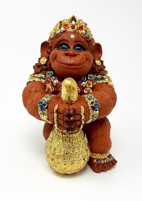 Brigitte Saugstad Hanuman Royal-10 ceramic statue, sculpture, idol, figurine, monkey C