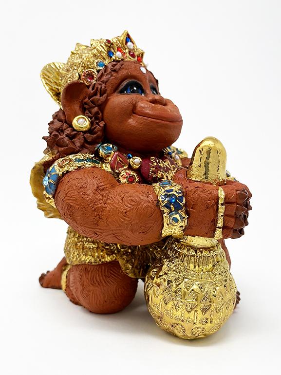 Brigitte Saugstad Hanuman Royal-10 ceramic statue, sculpture, idol, figurine, monkey D