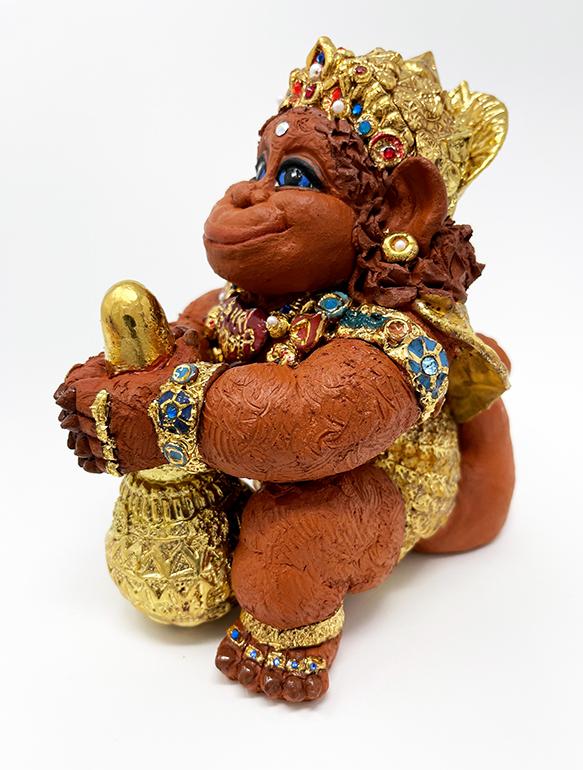 Brigitte Saugstad Hanuman Royal-10 ceramic statue, sculpture, idol, figurine, monkey F