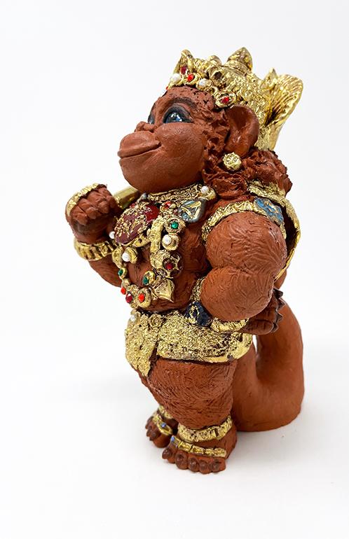 Brigitte Saugstad Hanuman Royal-8 ceramic statue, sculpture, idol, figurine, monkey E