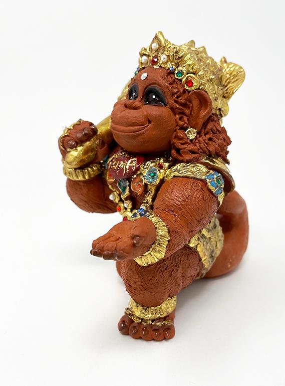 Brigitte Saugstad Hanuman Royal-9 ceramic statue, sculpture, idol, figurine, monkey E