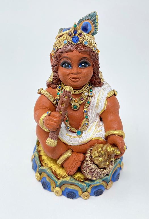 Brigitte Saugstad Krishna-1 ceramic statue, sculpture, idol, figurine A