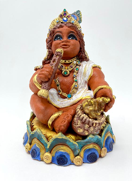 Brigitte Saugstad Krishna-1 ceramic statue, sculpture, idol, figurine B