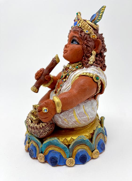 Brigitte Saugstad Krishna-1 ceramic statue, sculpture, idol, figurine C