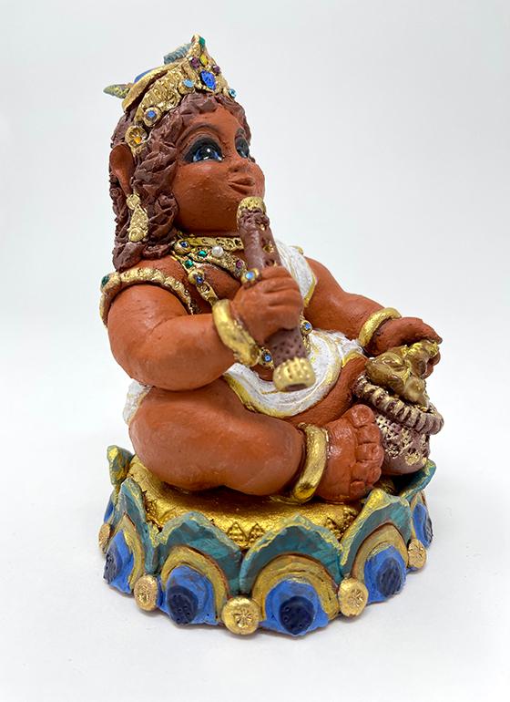 Brigitte Saugstad Krishna-1 ceramic statue, sculpture, idol, figurine E