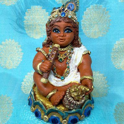Brigitte Saugstad Krishna-1 ceramic statue, sculpture, idol, figurine G