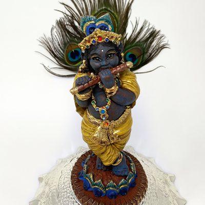 Brigitte Saugstad Krishna-2 ceramic statue, sculpture, idol, figurine A