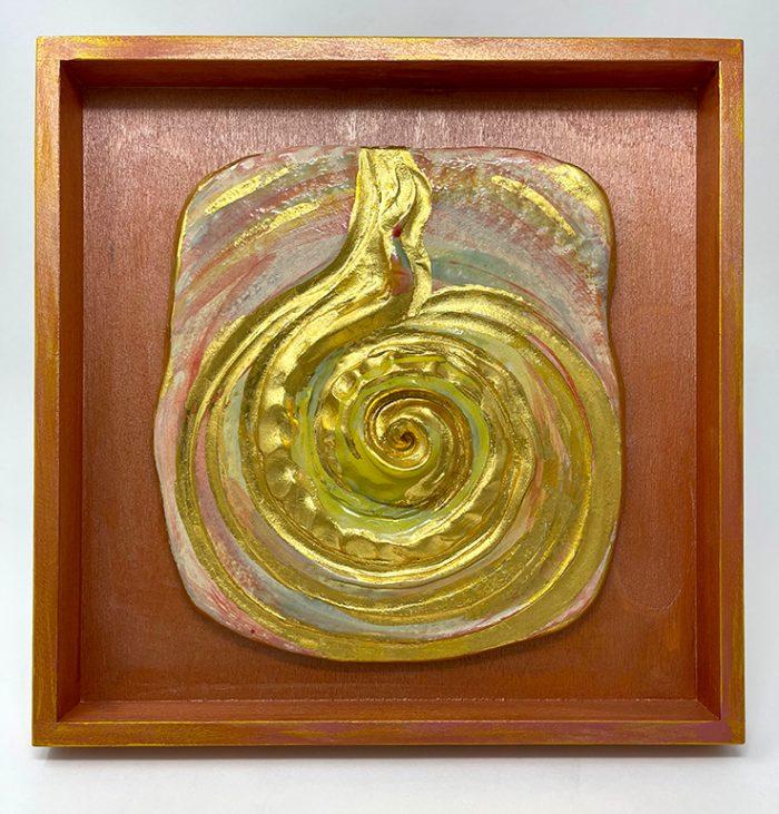 Brigitte Saugstad LIVING ENERGY Kundalini (relief wall hanging)-1 ceramic relief sculpture A