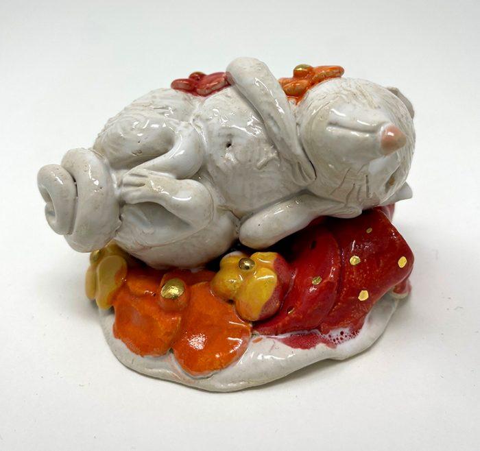 Brigitte Saugstad Mouse -13 ceramic statue, sculpture, idol, figurine A